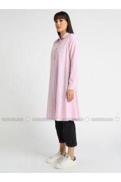 Pink - Stripe - Point Collar - Tunic - MOODBASİC(110339152)