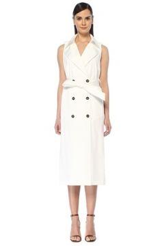 Eleventy Kadın Beyaz Pardösü Formlu Kuşaklı Midi Kruvaze Elbise 40 IT(108378247)