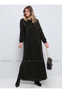 Black - Fully Lined - Crew neck - Muslim Plus Size Evening Dress - Alia(110314627)