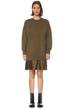 Academia Kadın Haki Pilili Mini Sweatshirt Elbise S(121208171)