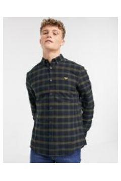 New Look - Camicia a quadri a maniche lunghe con ricamo sul petto blu navy(120261397)