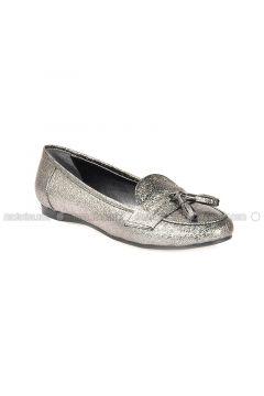Silver Tone - Flat - Flat Shoes - Vizon(110330304)