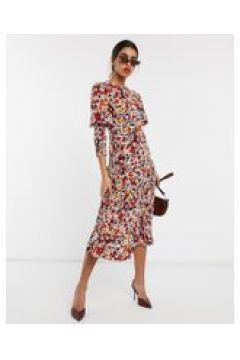 Never Fully Dressed - Vestito lungo a maniche lunghe con gonna a pieghe arancione a fiori-Multicolore(120331286)