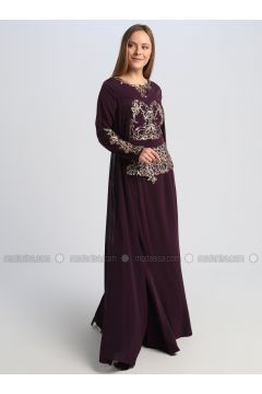Purple - Fully Lined - Crew neck - Muslim Evening Dress - Le Mirage(110337559)