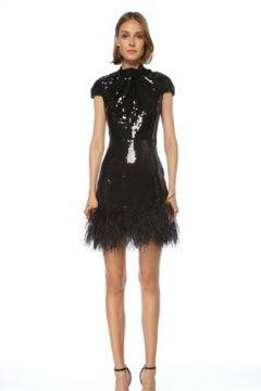 6Arlington Kadın Siyah İşlemeli Tüy Detaylı Mini Kokteyl Elbise 0 US(121969923)