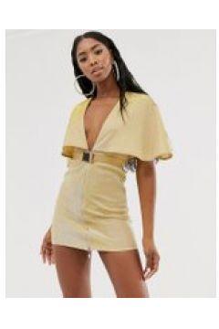 Rare - Vestitino scollo profondo con cintura e mantellina oro(120302924)