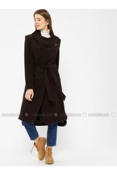 Brown - Fully Lined - Shawl Collar - Coat - Pitti Collection(110322908)