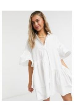 Neon Rose - Vestito camicia oversize con fondo asimmetrico in cotone-Bianco(120615208)