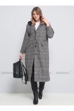 Black - Plaid - Fully Lined - Plus Size Overcoat - Alia(110327087)