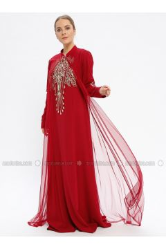 Maroon - Fully Lined - Crew neck - Muslim Evening Dress - Le Mirage(110337553)