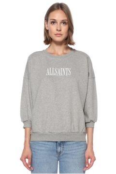 Allsaints Kadın Stamp Gri Logo Baskılı Sweatshirt XS EU(122583506)