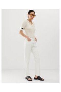 Tomorrow - Jeans dritti vita alta in cotone biologico con passante-Bianco(112835305)