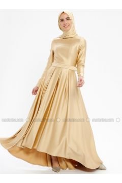 Gold - Fully Lined - Crew neck - Muslim Evening Dress - Pia(110335754)