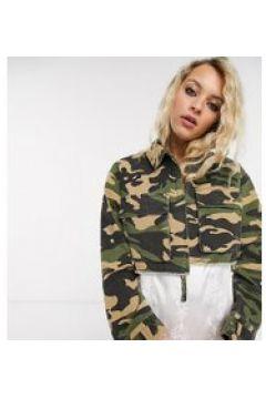 Reclaimed Vintage Inspired - Camicia giacca corta mimetica con tasche-Multicolore(120388798)