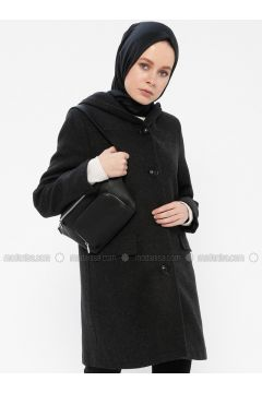 Anthracite - Fully Lined - Shawl Collar - Coat - Gzd(110337856)