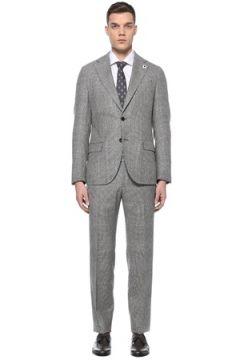 Lardini Erkek Gri Ekoseli Kazayağı Desenli Yün Takım Elbise 52 IT(107373302)