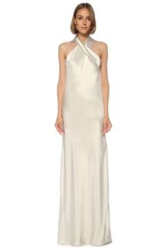 Galvan Kadın Silver Halter Yaka Maksi Saten Abiye Elbise Gri 36 IT(121487106)