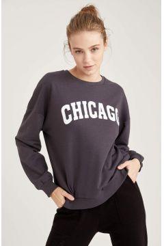 DeFacto Kadın Yazı Baskılı Oversize Sweatshirt(125934171)