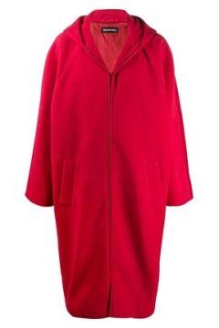 Balenciaga Erkek Oversize Kırmızı Kapüşonlu Polar Palto 44 IT(113464383)