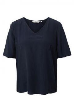 TOM TAILOR Damen Kurzarm-Bluse mit Knopf-Details, blau, unifarben, Gr.36(108176911)