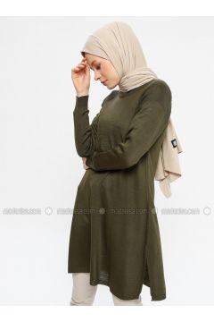 Khaki - Crew neck - Acrylic -- Tunic - Seyhan Fashion(110337671)