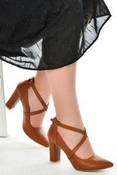 Ayakland Cilt 9 Cm Topuk Sandalet Ayakkabı 137029-1122(118288650)
