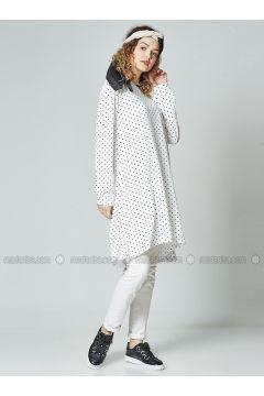 White - Polka Dot - Crew neck - Cotton - Tunic - Gippe Collection(110332434)