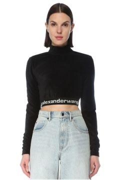 T by Alexander Wang Kadın Siyah Dik Yaka Logo Bantlı Crop Sweatshirt S EU(127752608)