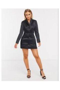 ASOS DESIGN - Giacca in raso con dettaglio a corsetto nera-Nero(120387590)