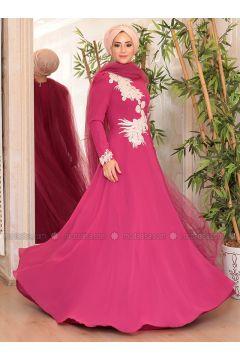 Fuchsia - Fully Lined - Crew neck - Muslim Evening Dress - Lef`zen(110314621)