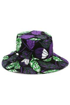 Helene Berman London Kadın Siyah Mor Yaprak Desenli Şapka EU(114438709)