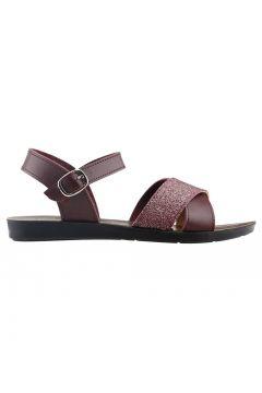 Ayakland Bordo Kadın Sandalet(118497779)