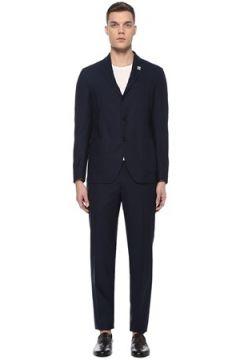 Lardini Erkek Lacivert Mikro Kareli Yün Takım Elbise 48 IT(107373301)