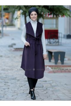 Plum - Fully Lined - Shawl Collar - Vest - DressLife(110332054)
