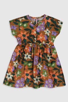 Çocuk Kız Çocuk Çiçekli Pamuklu Elbise(110910796)