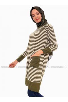 Khaki - Stripe - Crew neck - Acrylic -- Tunic - Por La Cara(110318369)