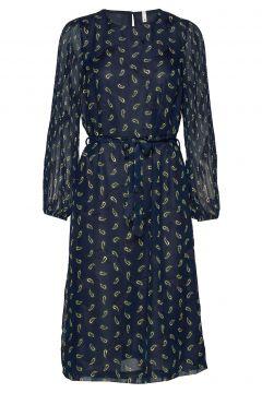 Pzgertrud Dress Kleid Knielang Blau PULZ JEANS(114163265)