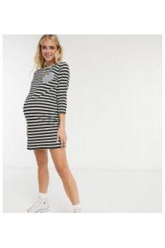 Gebe Maternity - Vestito T-shirt a righe bianche e nere-Nero(122244594)