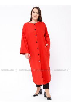 Red - Unlined - Crew neck - Topcoat - Sultan-ı Yegah(110335511)