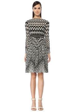Missoni Kadın Siyah Beyaz Kayık Yaka Desenli Midi Triko Elbise 44 IT(108933921)