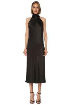 Galvan Kadın Siyah Halter Yaka Midi Saten Kokteyl Elbise 36 IT(121487109)
