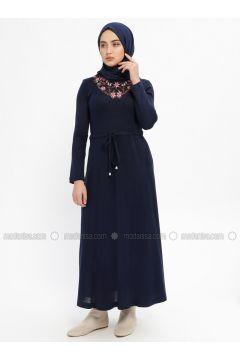 Navy Blue - Crew neck - Unlined -- Dresses - Mileny(110329320)