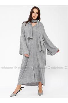 Gray - V neck Collar - Fully Lined - Wool Blend - Acrylic -- Dresses - Minimal Moda(110331361)