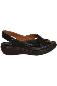 İloz 240228- Siyah Ortopedik Deri Sandalet(121227334)