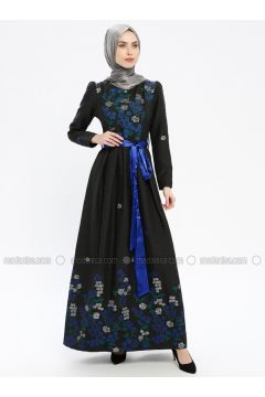 Blue - Multi - Fully Lined - Crew neck - Muslim Evening Dress - MissGlamour(110320675)