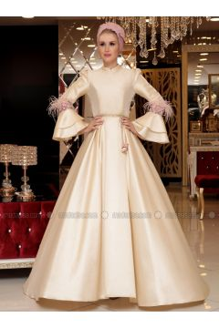 Golden tone - Fully Lined - Crew neck - Muslim Evening Dress - Selma Sarı Design(110333010)