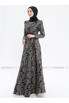 Navy Blue - Multi - Fully Lined - Crew neck - Muslim Evening Dress - MissGlamour(110320690)