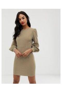 Fashion Union - Vestito a quadretti a maniche lunghe-Verde(123210123)