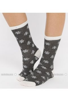 Black - Gray - Ecru - Cotton - Socks - Koton(110323619)