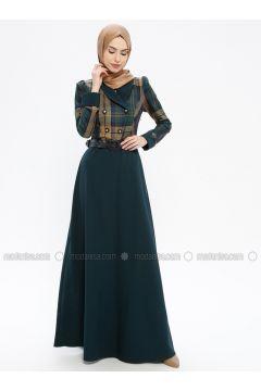 Green - Heart Print - Fully Lined - Shawl Collar - Muslim Evening Dress - MissGlamour(110321618)